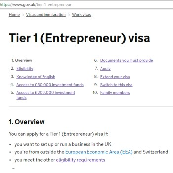 UK Tier 1 Entrepreneur application consultancy